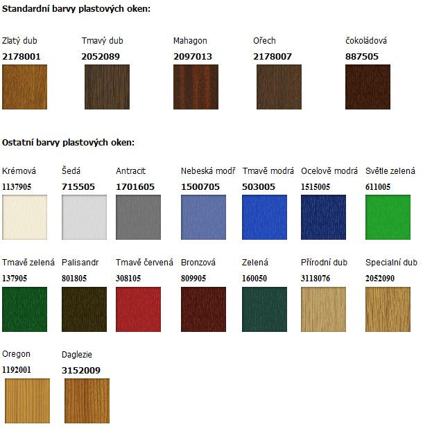 Barvy profilu plastových oken